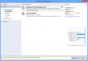 Restarting Visual Studio after SpecFlow installation