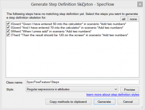 Generating step definitions
