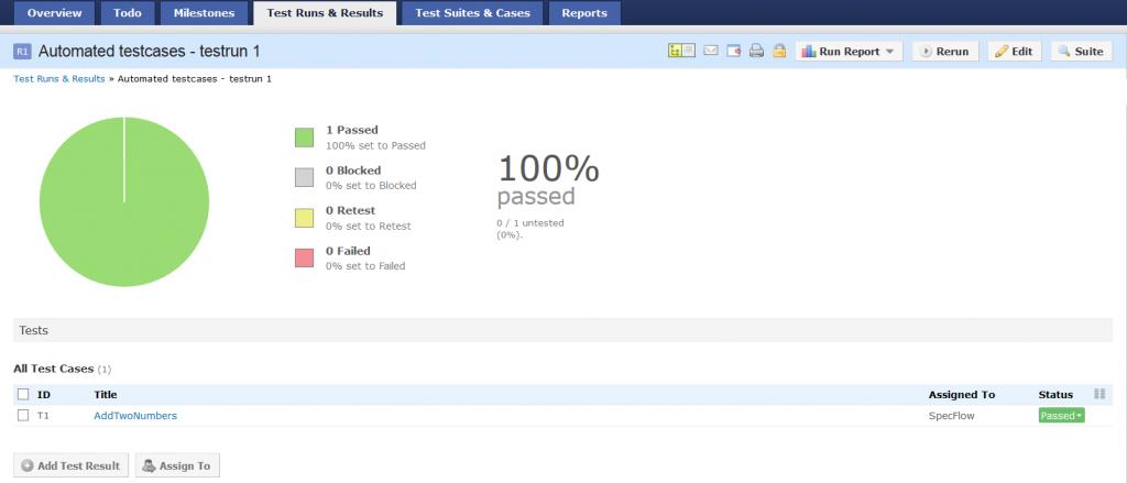 TestRail showing passed testcase
