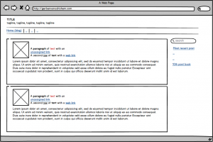 An image showing a basic design for a blog page in Balsamiq